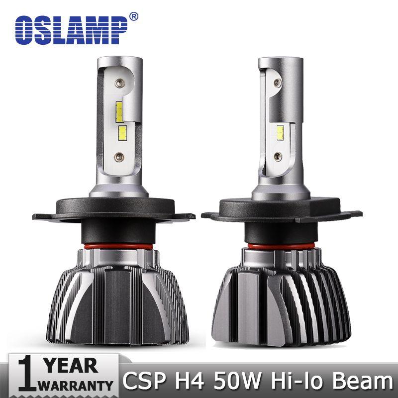 Oslamp H4 Hi-Lo Beam LED Car Headlight Bulbs 50W 6500K 8000lm Auto Led Headlamp CSP Chips Headlights 12v 24v Fog Lamp Bulb