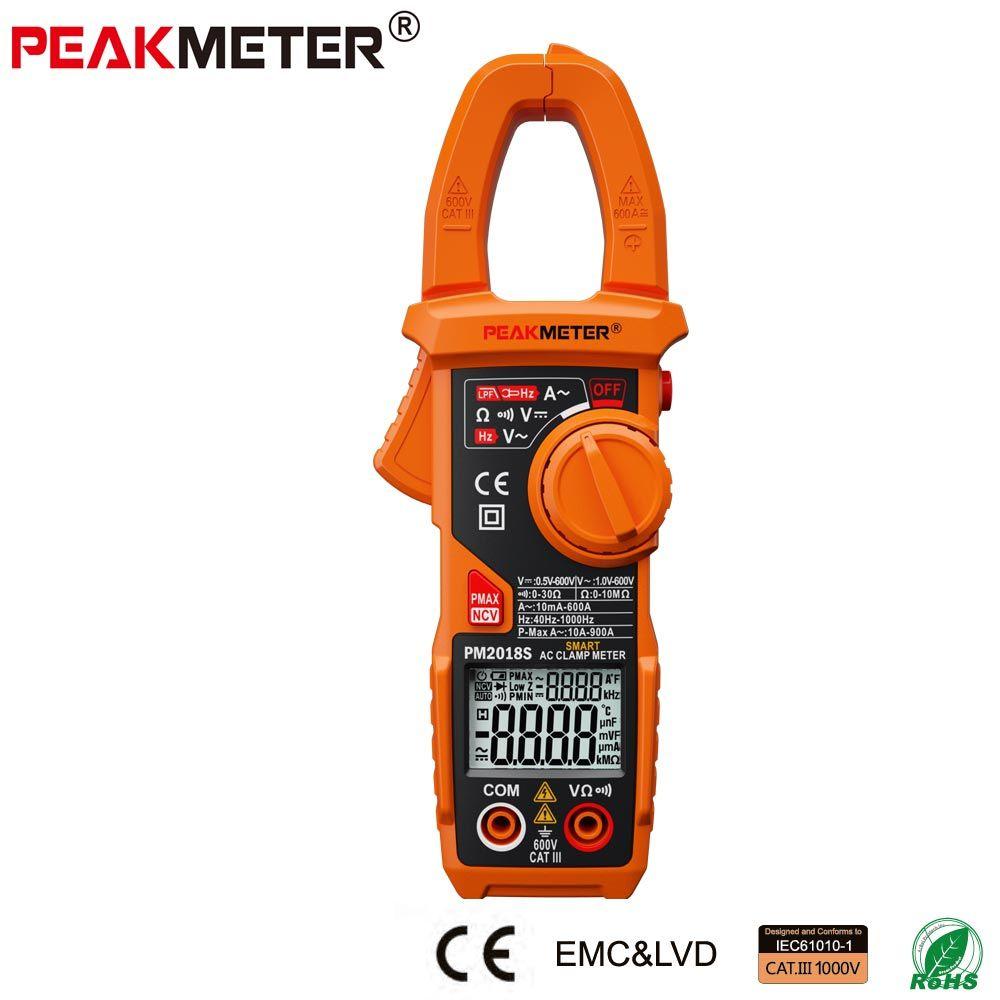 Official PEAKMETER Portable Smart AC Digital Clamp Meter Multimeter AC Current Voltage Resistance Continuity Measurement Tester
