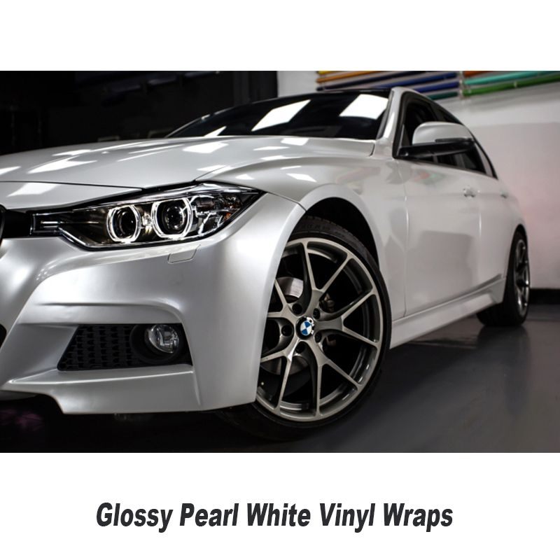 Glossy Pearl White Vinyl Wrap With Air Bubble Free Gloss Pearlecent Film For Car Styling Vehicle Tuning Size 1.52*20M
