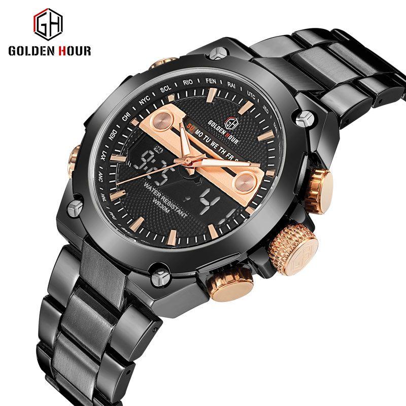 GOLDENHOUR Top Luxury Brand Men Watch Analog Quartz Wristwatch Classic Waterproof Army Military Sport Clock Relogio Masculino
