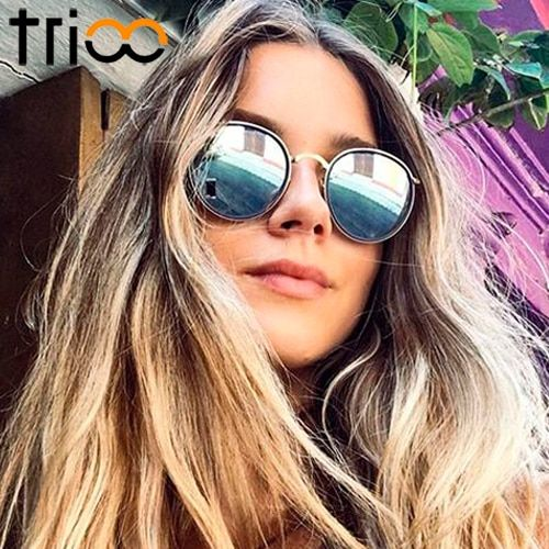 TRIOO Double Frame Designer Sunglasses Round Women Brand Shades Ultra-light Metal Lunette Color <font><b>Lens</b></font> Sun Glasses Eyewear Female