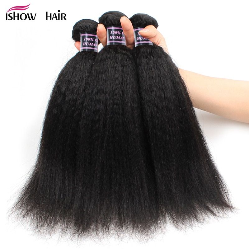 Ishow Brazilian Yaki Human Hair 3 Bundles Deals 8-28inch Brazilian Hair Weave Bundles No Remy 100 Human Hair Weave Free Shipping