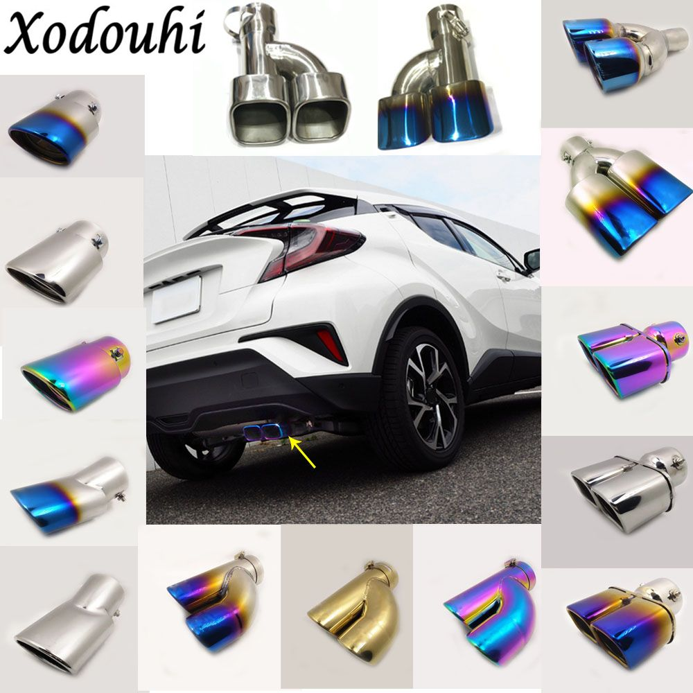 For Toyota C-HR CHR 2017 2018 car cover muffler exterior end pipe dedicate stainless steel exhaust tip tail moulding outlet 1pcs