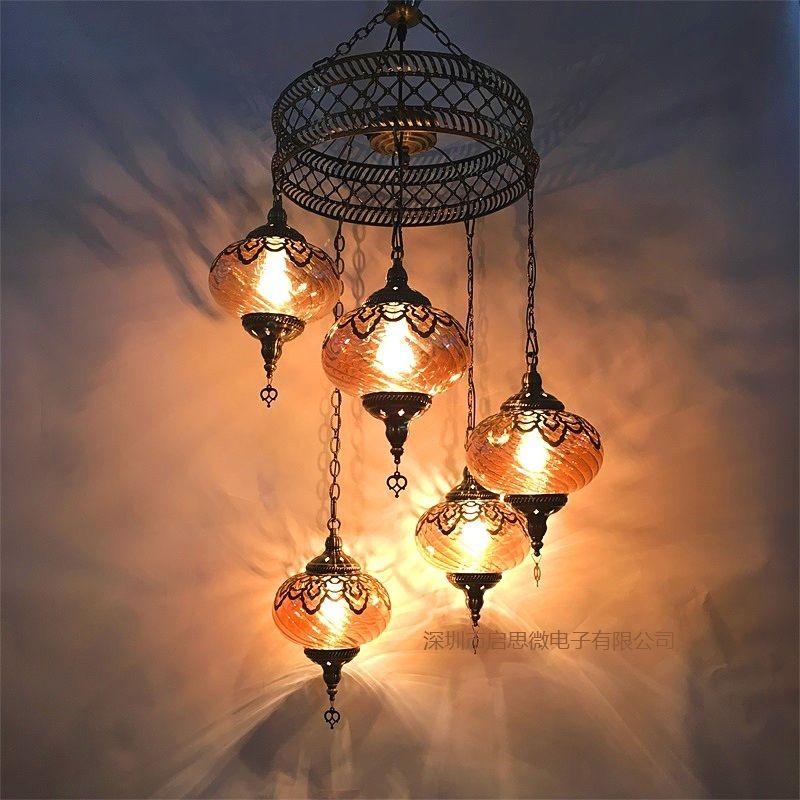 3/5 Heads Turkey ethnic customs Pendant lamp romantic Hotel cafe restaurant bar Pendant light living-room balcony stairs lampe