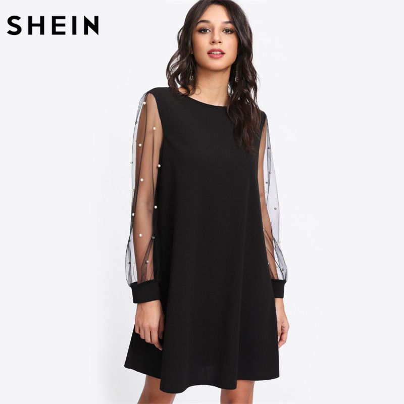 SHEIN Elegant Womens Dresses Pearl Beading Mesh Sleeve Tunic Dress Autumn <font><b>Black</b></font> Boat Neck Long Sleeve A Line Dress