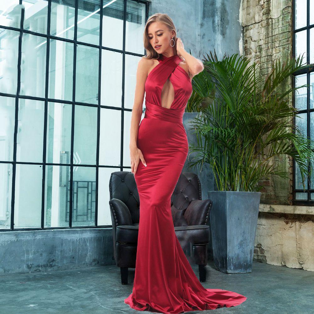 2019 Sexy sirène Satin robes longueur de plancher robe de soirée évider bricolage bretelles moulante dos nu robe de soirée