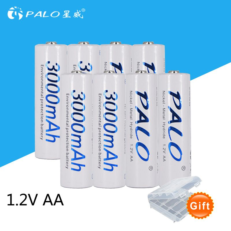 8pcs/2card PALO AA Rechargeable Battery AA NiMH <font><b>1.2V</b></font> 3000mAh Ni-MH 2A Pre-charged Bateria Rechargeable Batteries for Camera