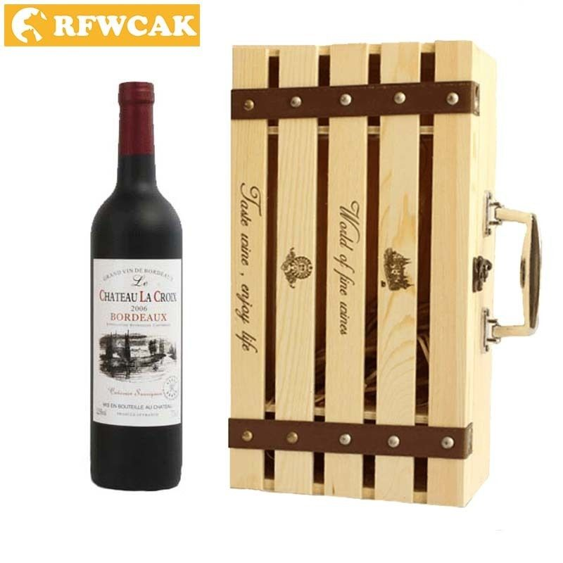 Dropshopping Recommend Retro High-end Double Clamshell Red Wine Box Pine Wooden Gift Box Grape Wine Packaging Box DIY Crafts