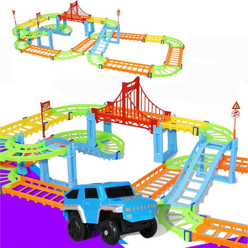 Bricolage électrique course Rail voiture enfants Train piste modèle jouet bébé chemin de fer piste course route transport bâtiment fentes ensembles