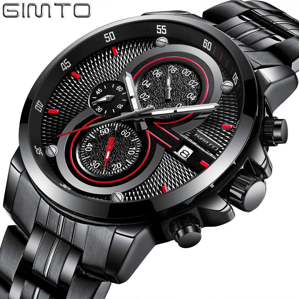 Stylish Black Sport Men Watch Luxury Brand GIMTO Fashion Stainless Steel Casual Cool Male's Wristwatch 30 Meter Waterproof