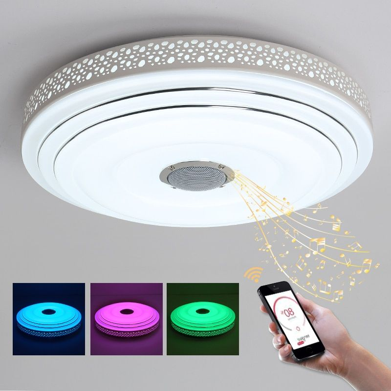 BULE TIME Music Lamp <font><b>Modern</b></font> LED Chandelier Lustres With Bluetooth Control Color Changing Ceiling Chandeliers Lighting Fixture