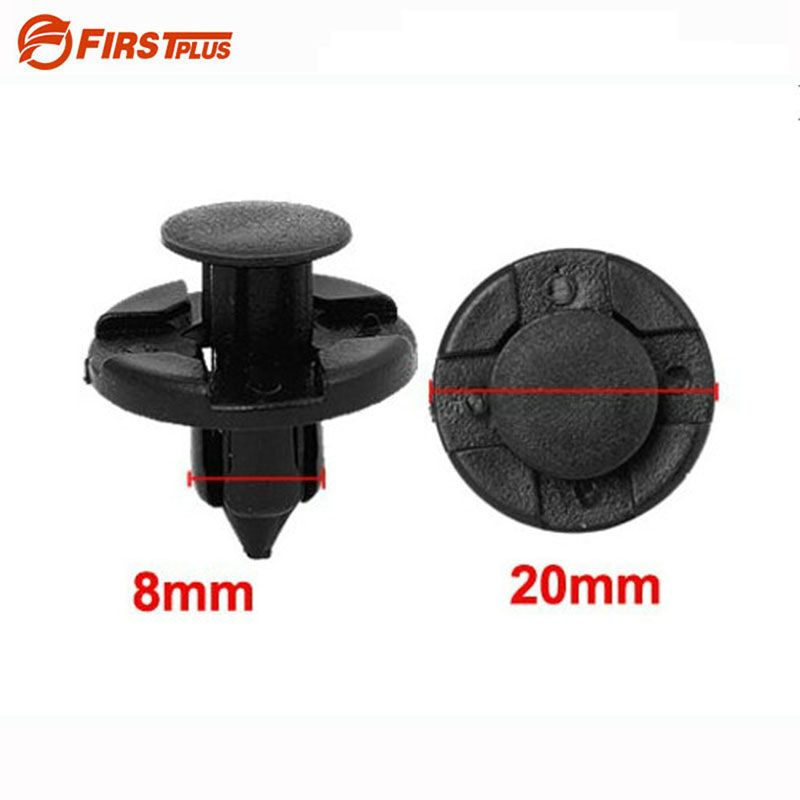 100 x 8mm Auto Clips Nylon Front Bumper Fender Rivets Push Quick Release Fastener for Nissan Tiida Black