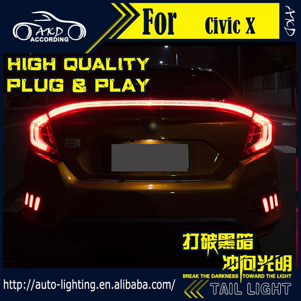 AKD Car Styling Tail Lamp for Honda Civic Tail Lights 2016 Civic X LED Tail Light LED Signal LED DRL Stop Rear Lamp Accessories