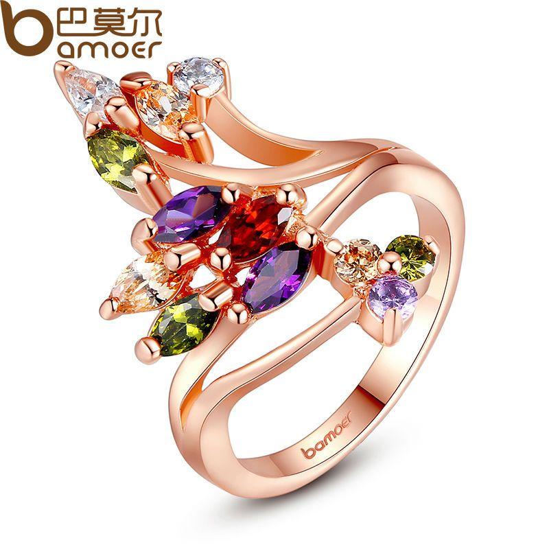 BAMOER Hohe Qualität Gold Farbe Finger Ring für Frauen Partei mit AAA Bunte Cubic Zirkon Berühmte Marke Schmuck JIR048