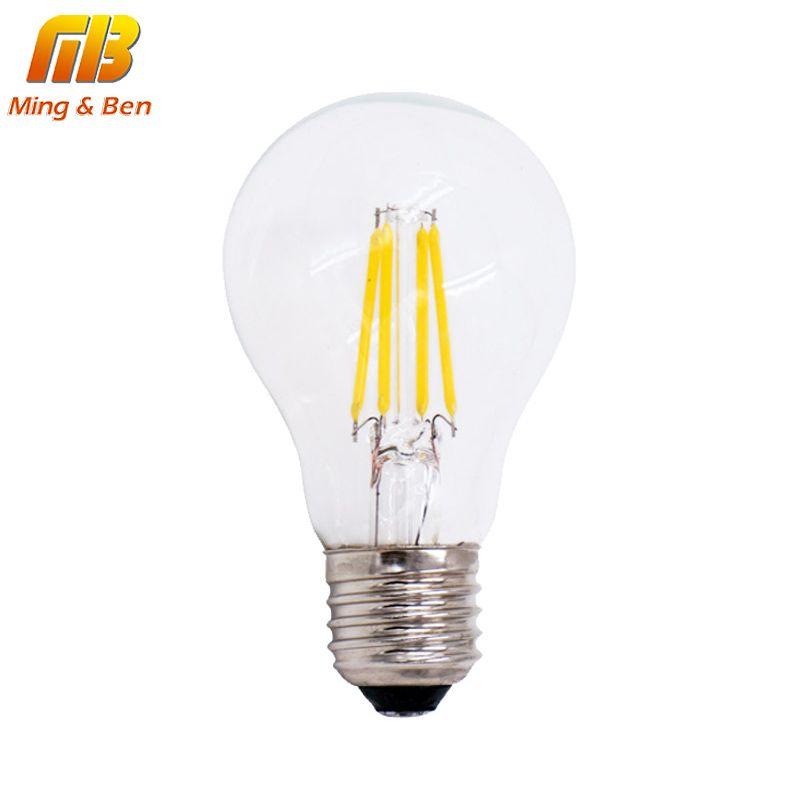 [MingBen] dimmbar A60 FÜHRTE Glühlampe E27 220 V 4 Watt 8 Watt LED Edison COB Birne 360 Grad Lampada Bombillas Retro Loft Stil lampe