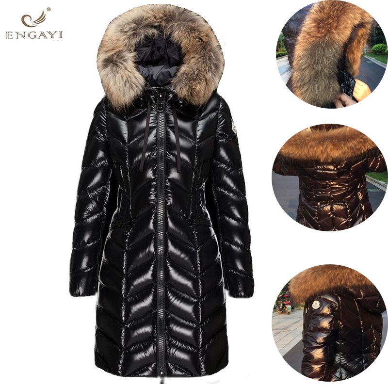 Down Jacket 2018 New Winter Coat bigFur Collar Women Long Paragraph Thickening Slim Warm Hooded For Female Qw634