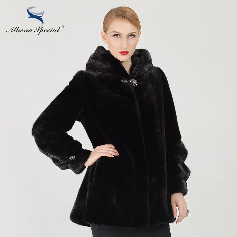 Athena Special Skirt Type Short Women Genuine Mink Fur From Canada NAFA Mink New Design Winter Real Natural Mink Fur Coats Hood