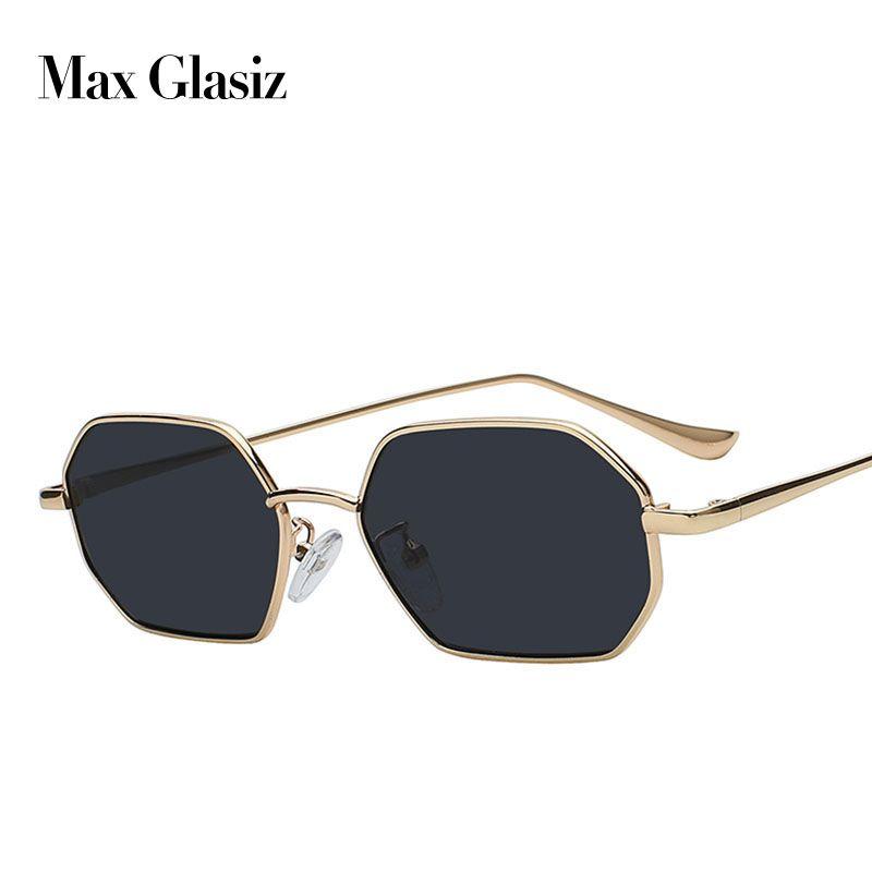 MAX 2018 Sunglasses Women Brand Designer Small Frame Polygon Clear Lens Sunglasses Men Vintage Sun Glasses Hexagon Metal Frame