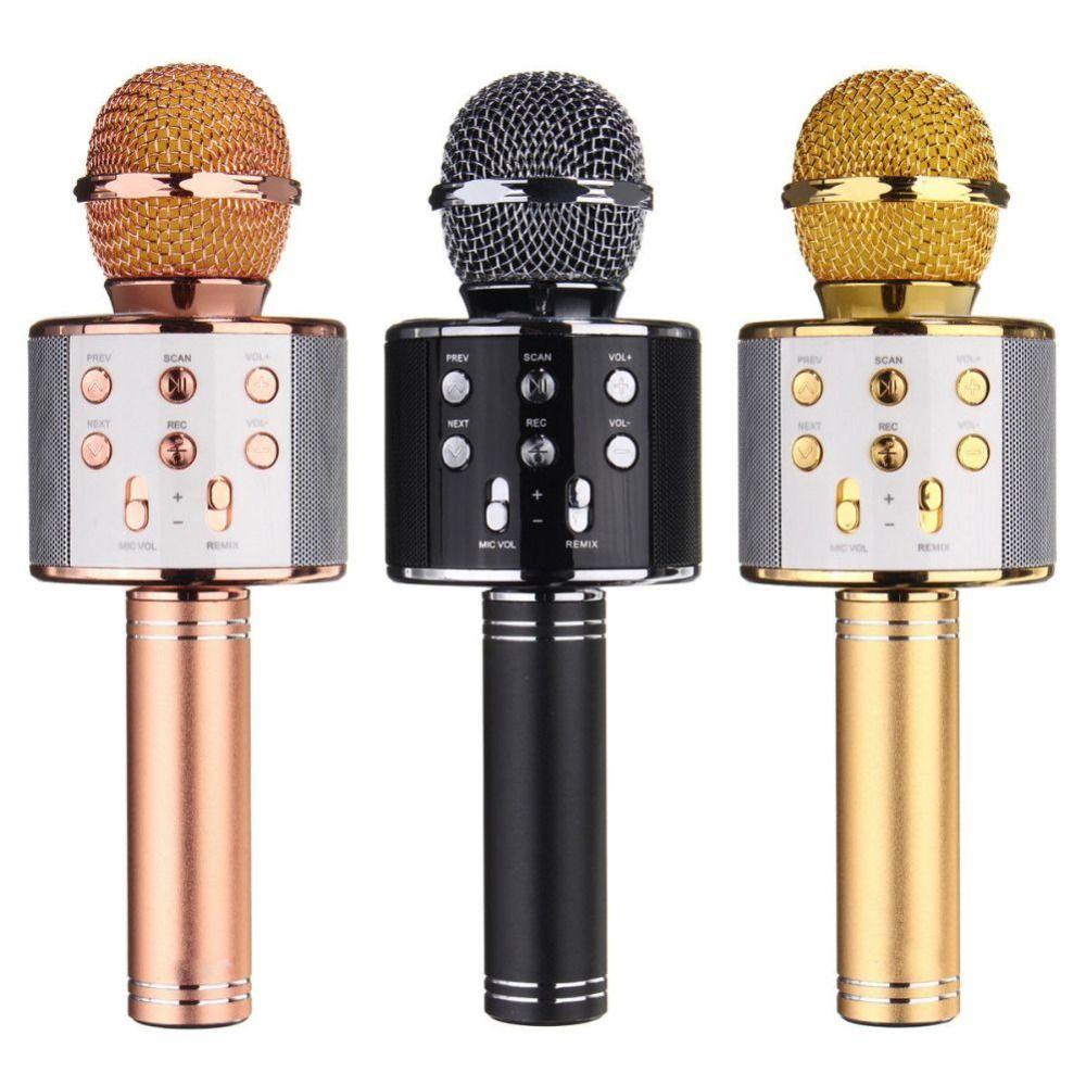 WS-858 Bluetooth Wireless Karaoke Handheld Microphone USB KTV Player Bluetooth Mic Speaker Record Music