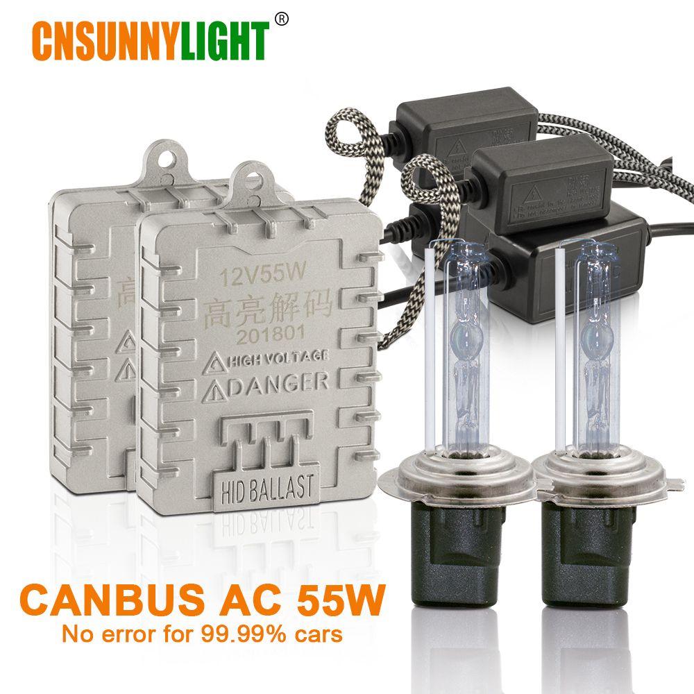 CNSUNNYLIGHT Canbus 55W Car Xenon HID Lights H7 H1 H11 H8 HB3 HB4 9005 9006 4300K 6000K Super Bright No Error Auto Xenon Lamps