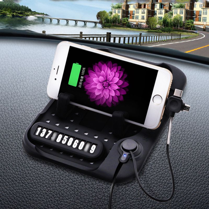 CHIZIYO 3 In 1 Multi-functional Magnetic Charge Silicone Anti-Slip Mat Car Navigation Mobile Phone USB Charger With Parking Card