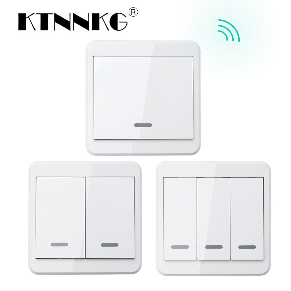 KTNNKG 433MHz Universal Wireless Remote Controls 86 Wall Panel RF Transmitter With 1 2 3 Buttons for Home Room Lighting Switch