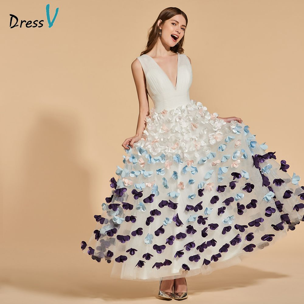 Dressv ivory long prom dress v neck empire waist backless simple a-line appliques ankle length evening party gown prom dresses