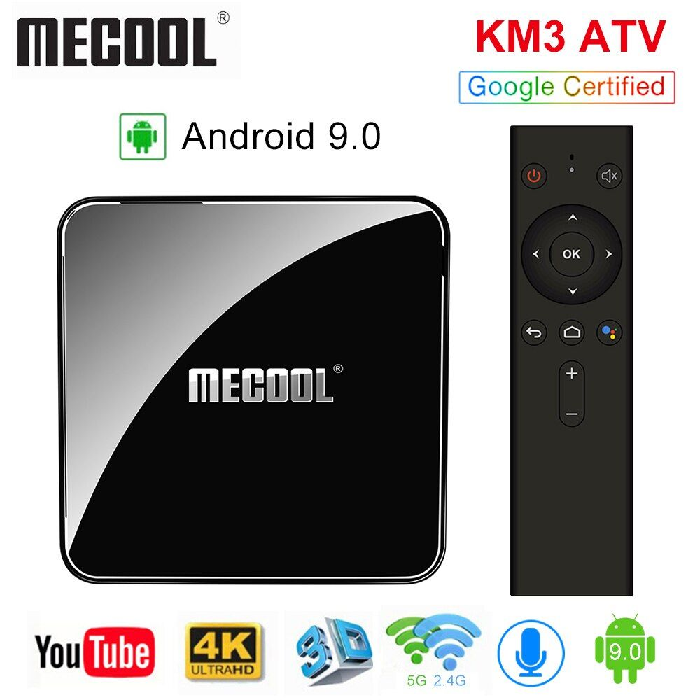 MECOOL KM3 vtt Androidtv 9.0 Google certifié Android 9.0 TV Box 4 GB 64 GB Amlogic S905X2 4 K 2.4G 5G double Wifi BT4.0 décodeur
