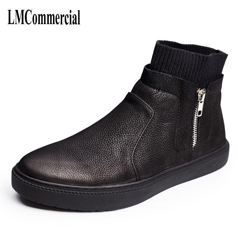 Una canción de los hombres botas de negro de la vendimia de alta zapatos casuales de Inglaterra 2017 nueva personalidad Metrosexual hombre botas zapatos de cuero