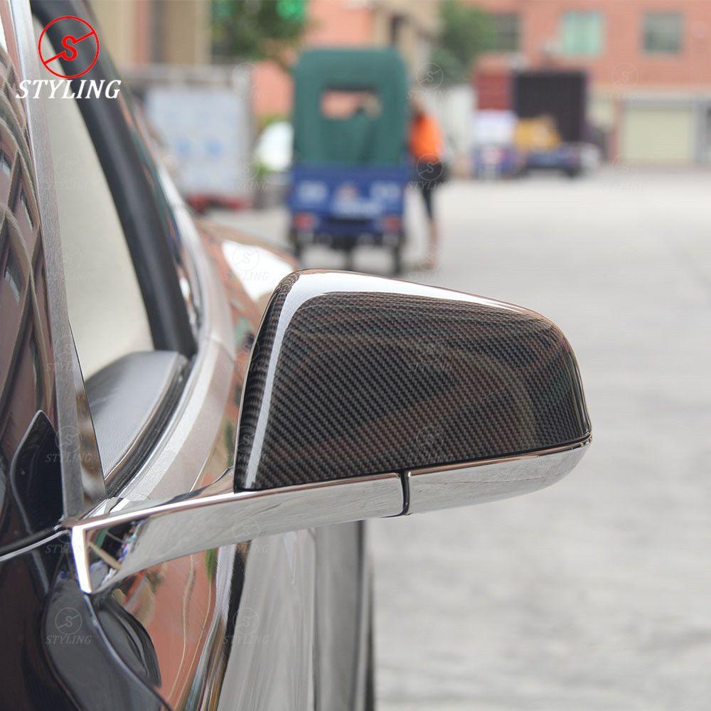 Modell S spiegel abdeckung Für Tesla model S 60 70 P85 P90D Dry Carbon Rückspiegel Abdeckung Matt & glanz Schwarz 2014-2017 2018 2019