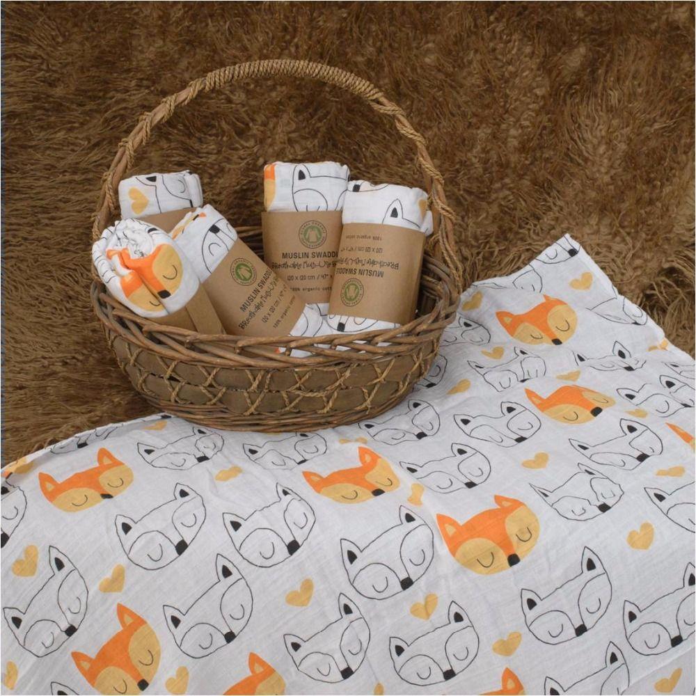Muslinlife 100% Manta Swaddle Muselina de Algodón, cruz/Fox/Modelos de Botella de Leche de usos Múltiples manta, Bebé Recién Nacido Wrap 47*47