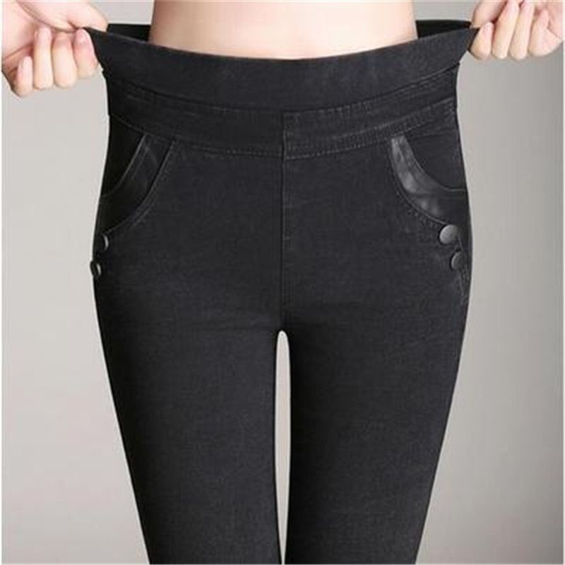 Spring Autumn Russia Women Big Yards Lmitation Jeans Pants Elastic High Waist softener denim Ladies Casual Slim Skinny Trousers