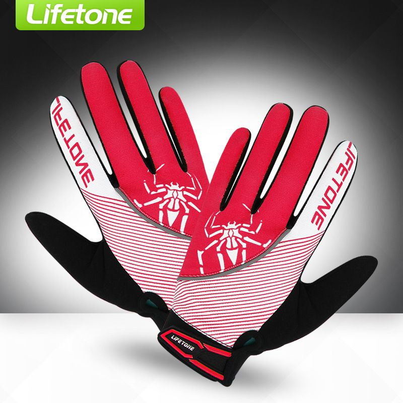 LIFETONE Women's Cycling Gloves Full Finger Spider Print Red Rose Blue Road Mountain Bike MTB Bicyle Gloves Reflective Mittens