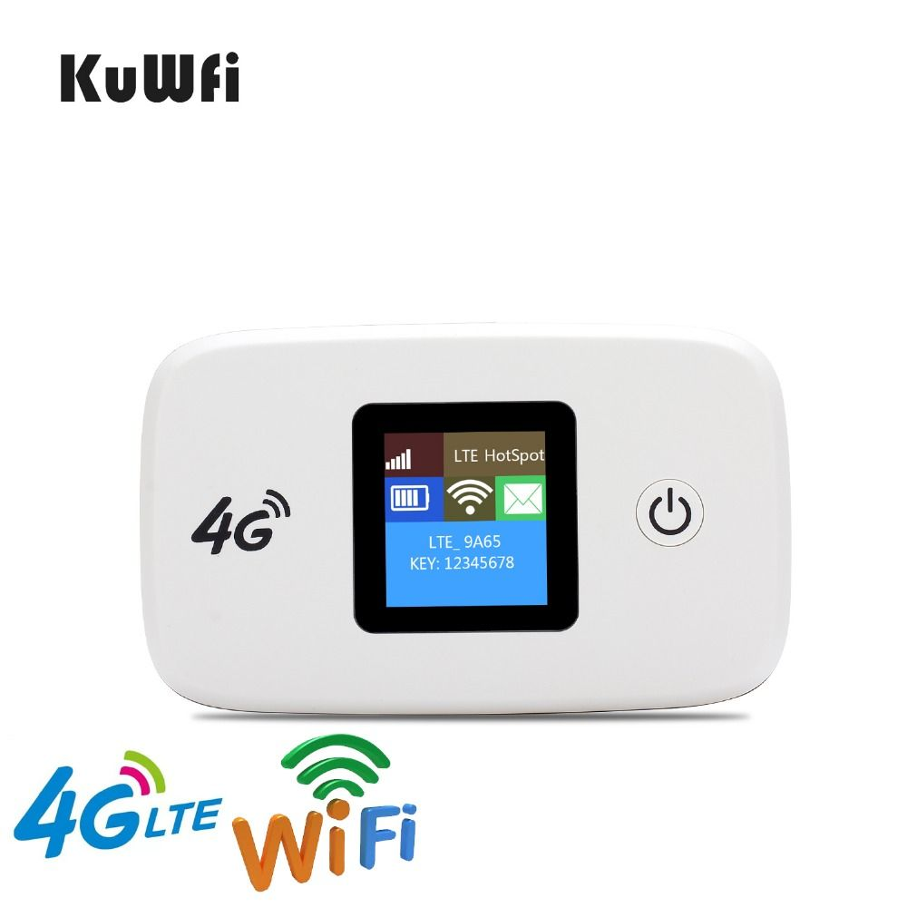 KuWfi Unlocked 100Mbps 3G 4G LTE Wifi Router Mobile Wifi Hotspot 2400mAH Battery With SIM Card Slot LCD Display Up To 10 Users