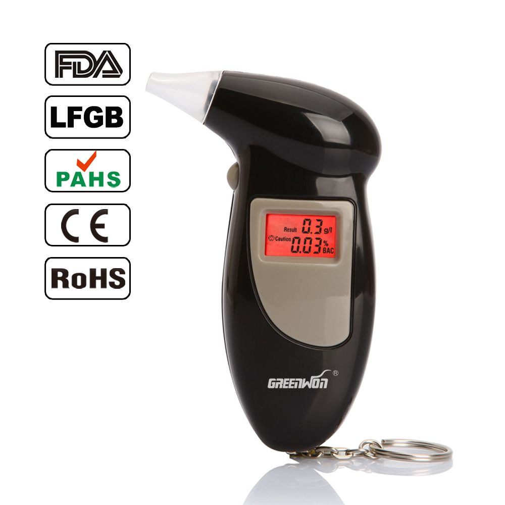GREENWON High Accurate Digital Breathalyzer Alcotest Alcohol Breath Analyzer Tester Professional with 5 Mouthpieces