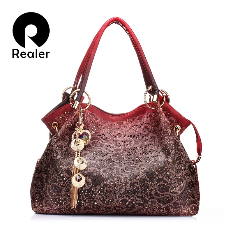 REALER women handbags hollow out ombre floral print shoulder crossbody bags ladies pu leather totes fashion messenger bag female
