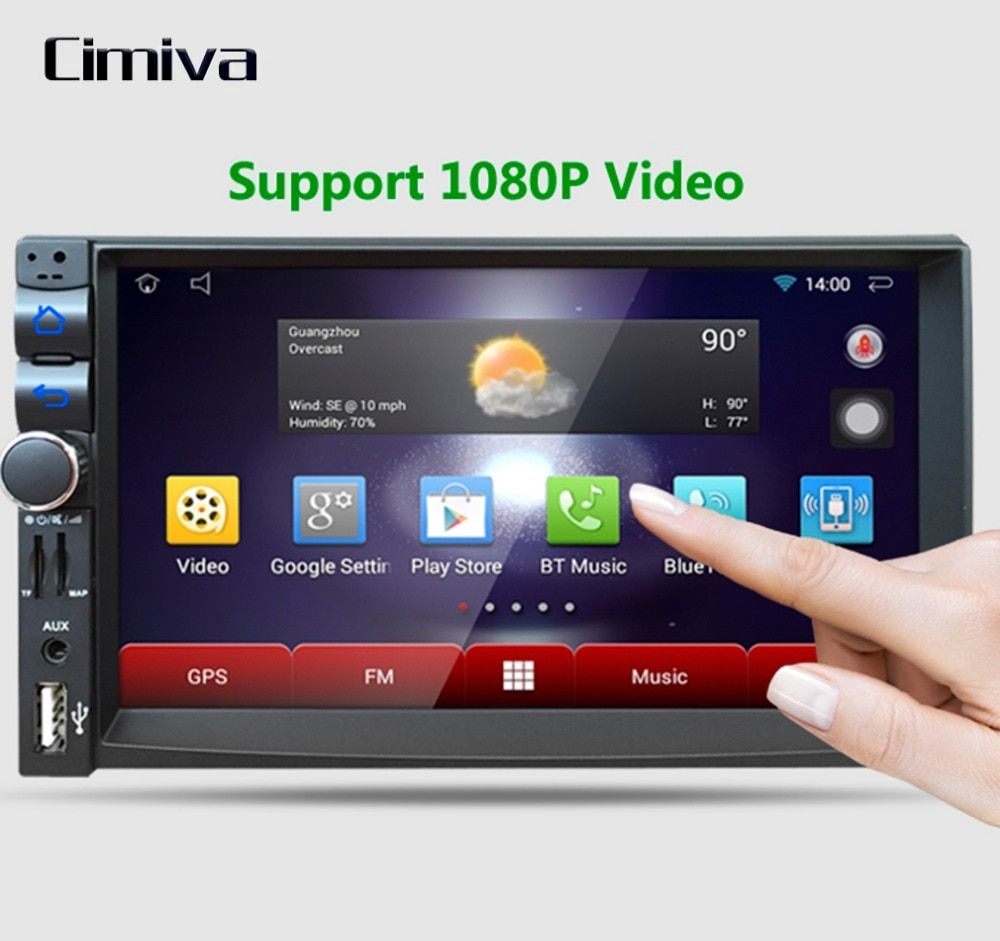 Cimiva 7 inch Car Player Capacitive HD Touch Screen Radio Stereo 8G / 16G Suppot Rear View Camera Input Android 5.1.1 GPS