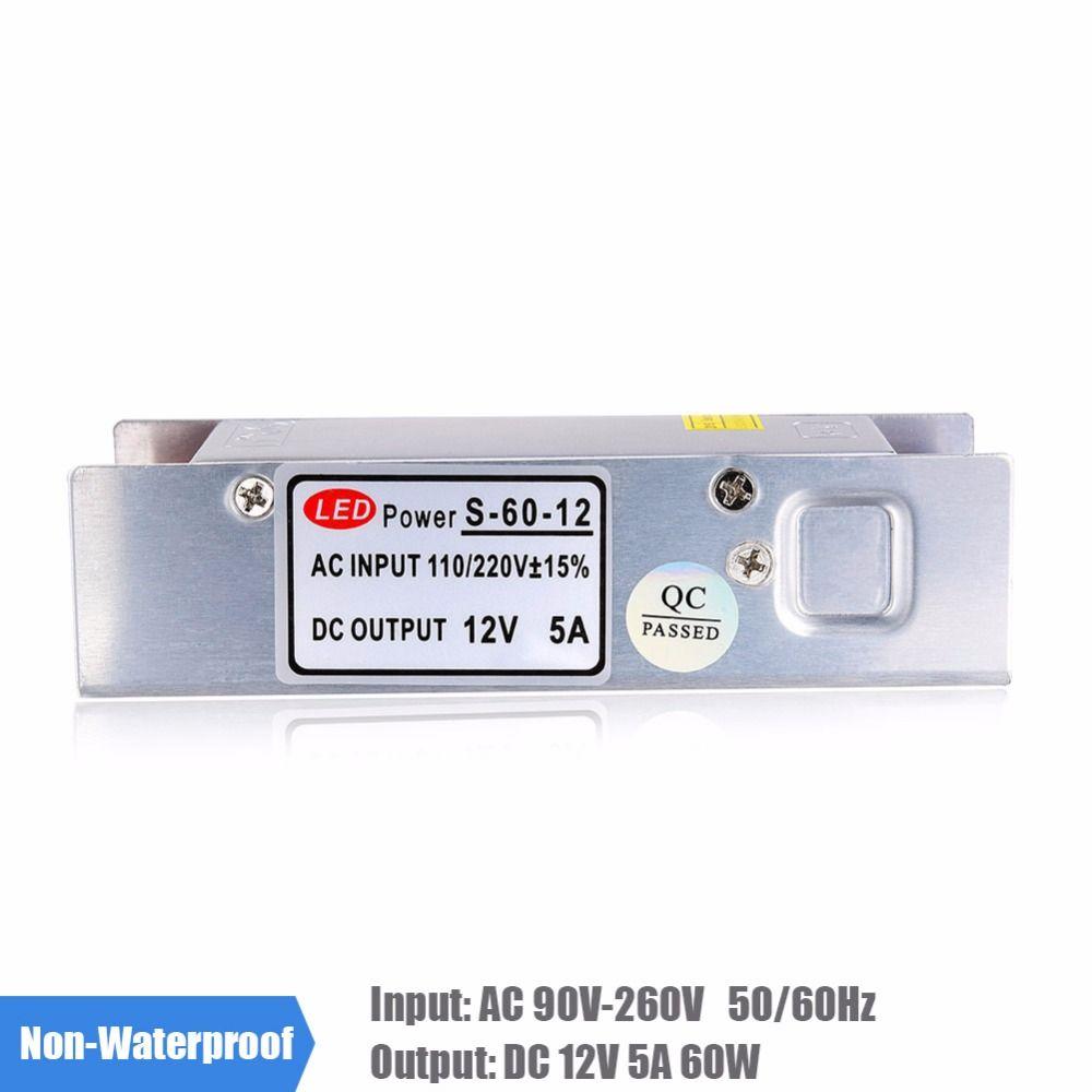 5A 60 W LED fuente de Alimentación AC 110 V 220 V a CC 12 V Conductor Del LED Transformador Convertidor de Voltaje de Conmutación para la Tira del LED 3528 5050 RGB