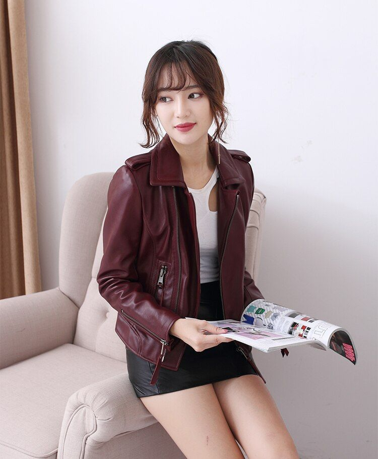 Бесплатная доставка Модная Повседневная 100% натуральная кожа женщин тонкий Куртки. Motorbiker Азиатский женский размер полушубок бренд продаж