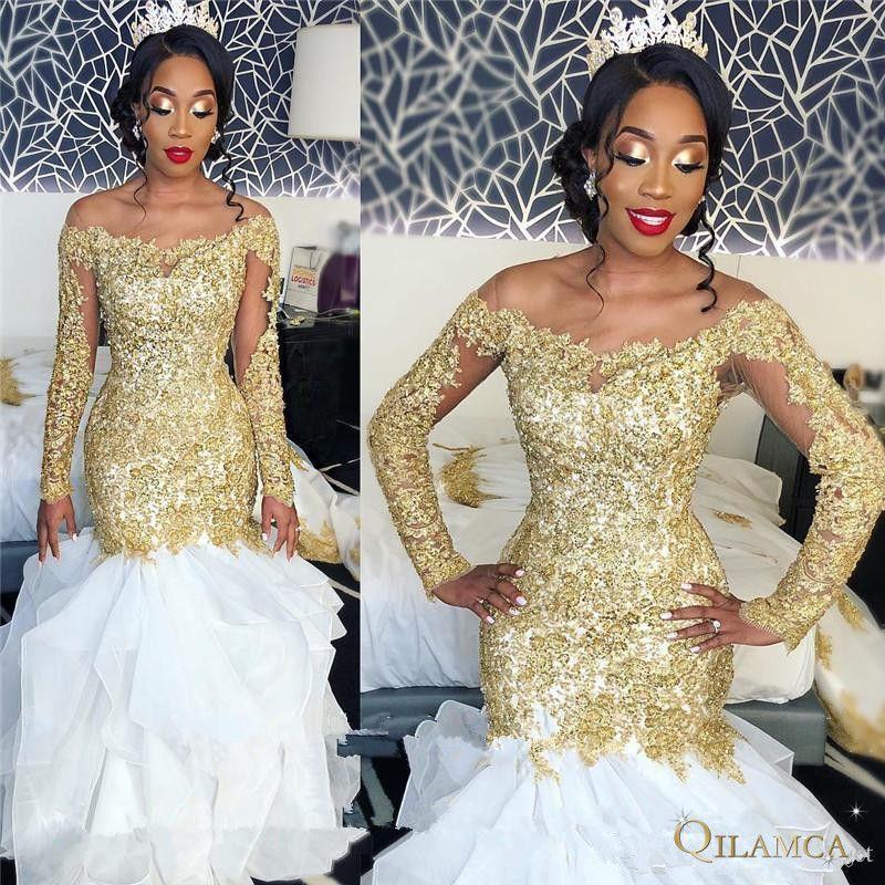 Sexy Plus Größe Meerjungfrau Afrikanische Hochzeit Kleider weiß Gold Spitze Appliques 2019 Langarm Perlen Arabisch Brautkleider