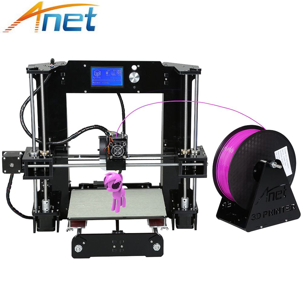 Easy Assemble Anet A6&A8 3D Printer Big Size High Precision Reprap i3 DIY 3D Printing Machine+Hotbed+Filament+SD Card+LCD