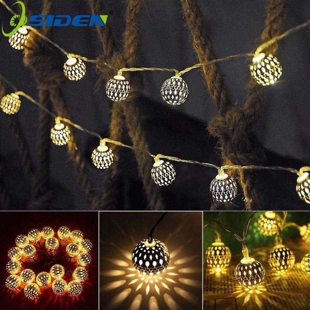 OSIDEN Oro LED Luces AC220V UE Plug5M 20 Leds Navidad Boda Decoración Balón de Oro de Hadas Cadena De Luz Blanco Cálido cadena