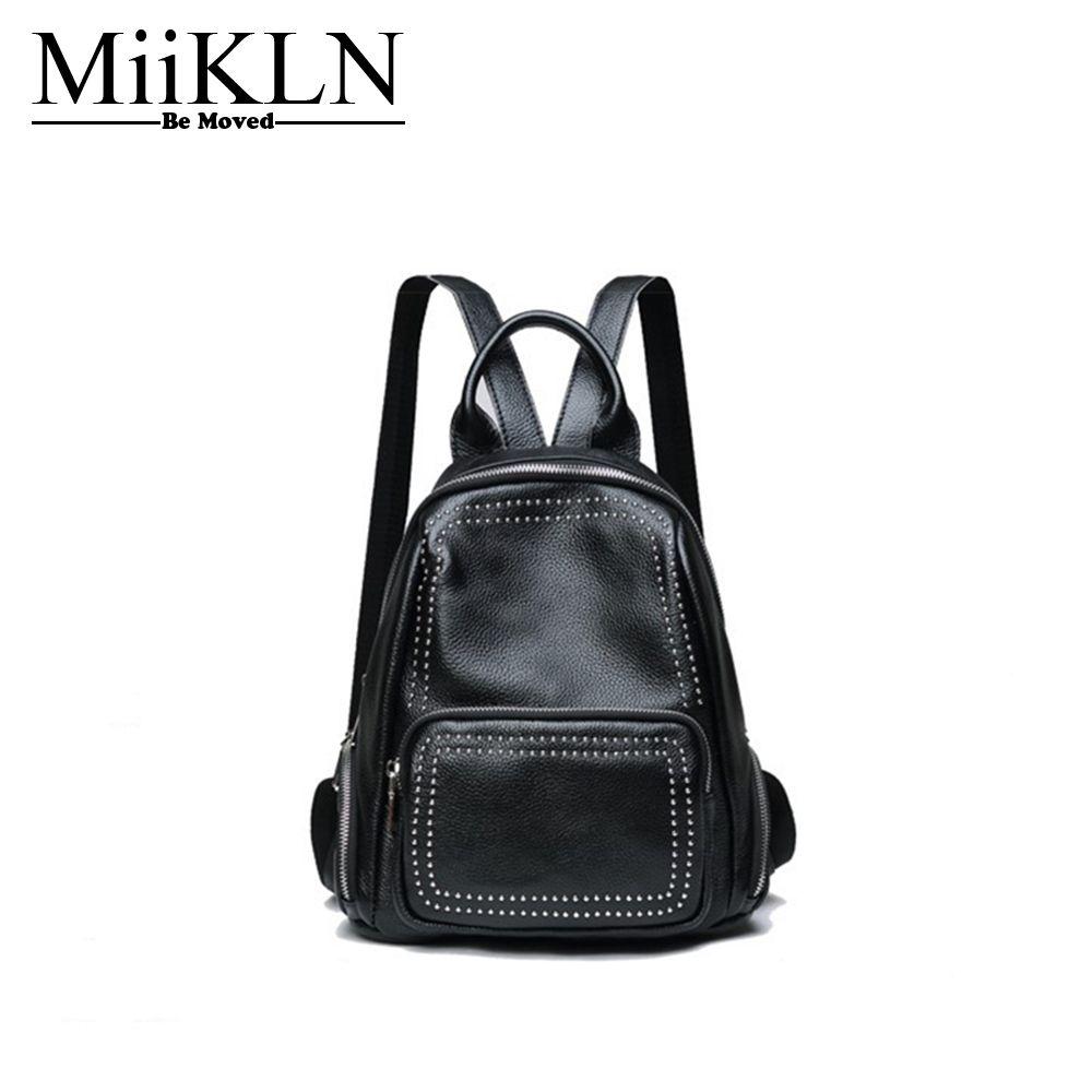 MiiKLN Women Backpack Genuine Leather Back Red Grey Fashion Design Ladies Travel Back Pack Rivet Backpack For Women Ladies