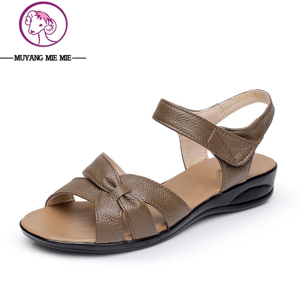 Más el tamaño (32-43) verano plana Sandalias para mujeres 2015 madre Zapatos Cuero auténtico enfermera Zapatos plana Maternidad Zapatos Sandalia de las mujeres