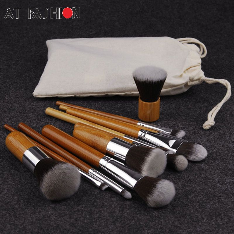11PCS Professional Bamboo Makeup Brushes Set Cosmetics Foundation Make Up Brush Tools Kit for Powder Blusher Eye Shadow Eyeliner