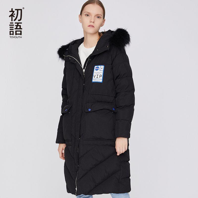 Toyouth Herbst Winter Verdickung 90% Frauen Unten Jacken Parkas 3 Farbe Warm Outwear Mit kapuze Große Faux Pelz Kragen lange Mantel