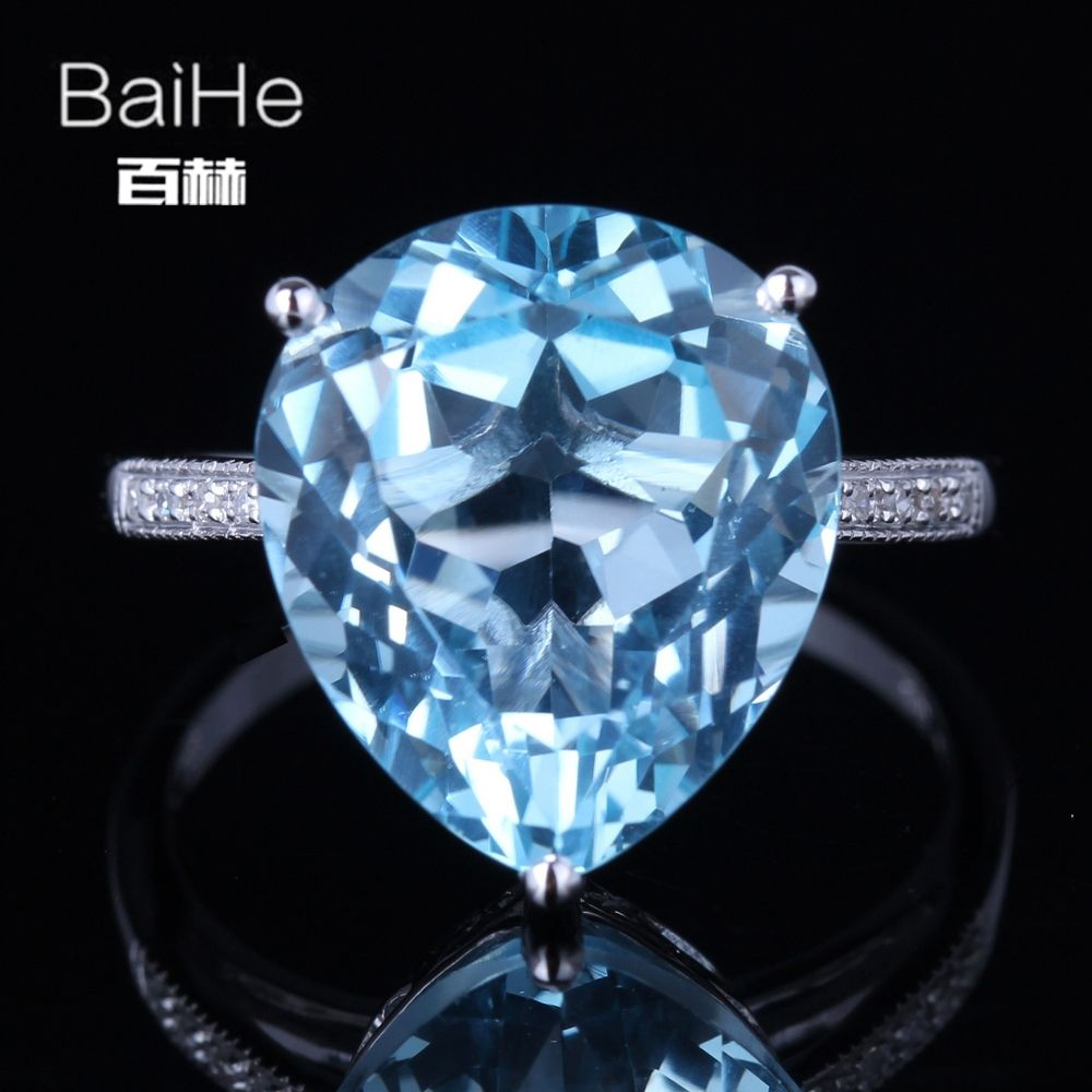 BAIHE Solid 14K White Gold(AU585)9.62CT Certified Sky Blue/Flawless Genuine Blue Topaz Wedding Women Trendy Fine Jewelry Ring