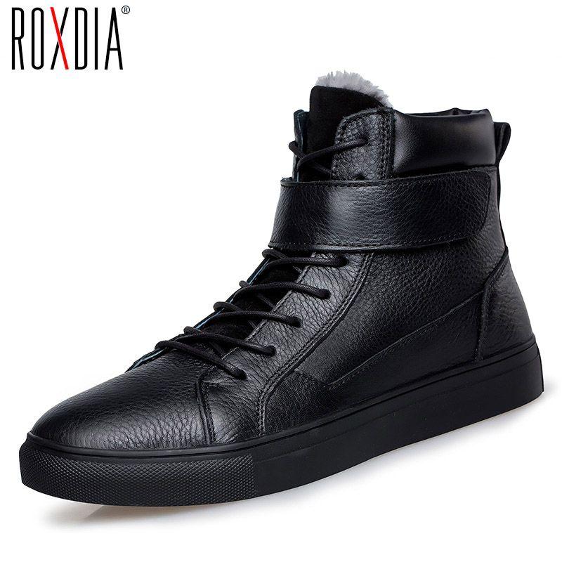 ROXDIA primer nivel de cuero botas para hombre otoño invierno para los hombres tobillo de arranque ocasional masculina zapatos marrón negro más el tamaño 39-47 RXM054