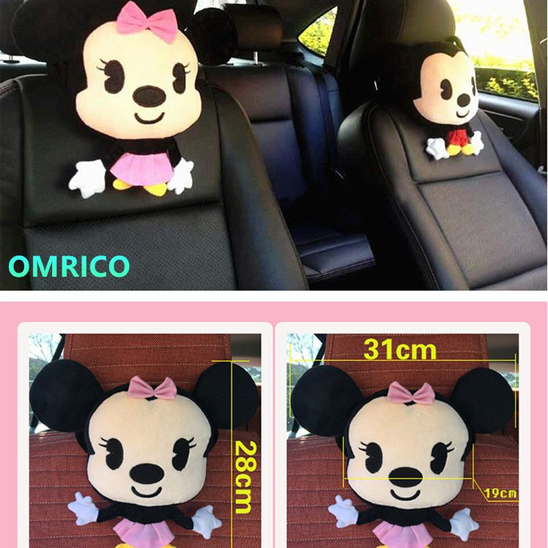 2Pcs Mickey Minnie Mouse Women Car Seat Lumbar Support Cushion Memory Cotton Back Pillow Car Neck Pillow Headrest Accessories
