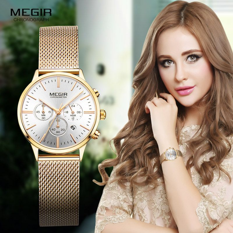 Megir Women's <font><b>Chronograph</b></font> Luminous Hands Date Indicator Stainless Steel Mesh Strap Quartz Wrist Watches Lady Rose Gold M2011L-1